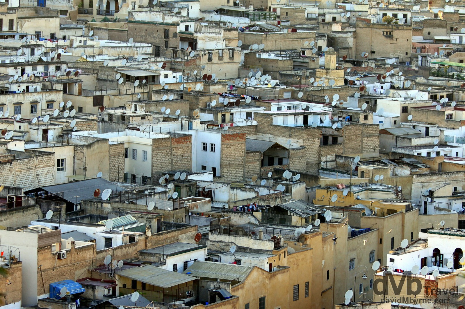 Contrast - satellite dishes on the roofs of a section of the ancient medina of Fes el Bali (Old Fes) as seen from Borj Sud (South Tower) in Fez, Morocco. May 27th, 2014.