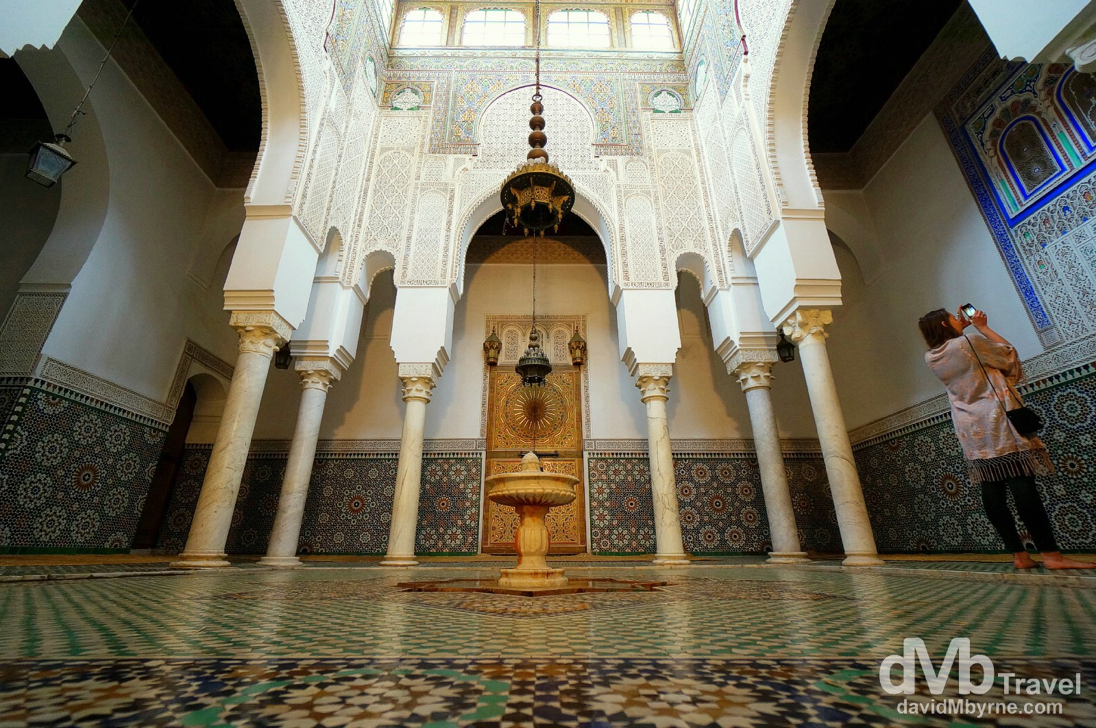 A section of the stunning tomb hall of the Moulay Ismail Mausoleum showcasing the best of Moroccan craftsmanship. Meknes, Morocco. May 24th, 2014.