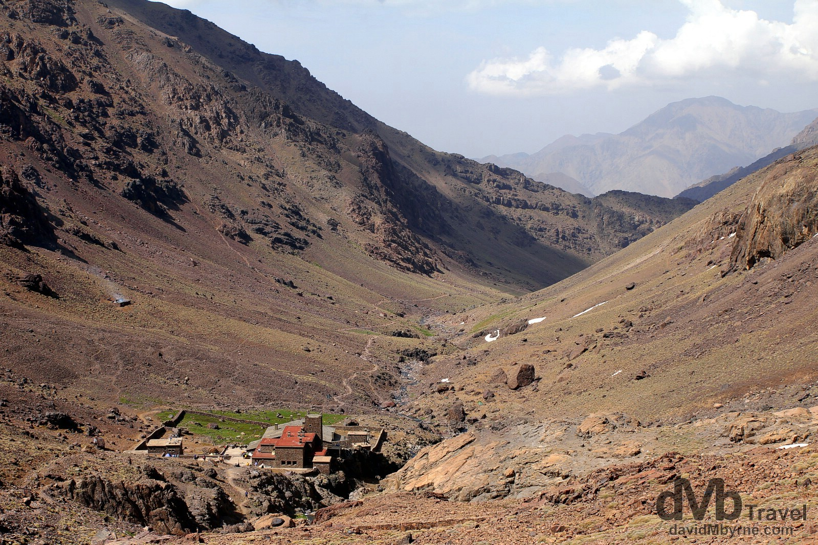 The Toubkal Refuge sitting in the valley leading to the summit of Jebel Toubkal, High Atlas, central Morocco. May 10th, 2014.