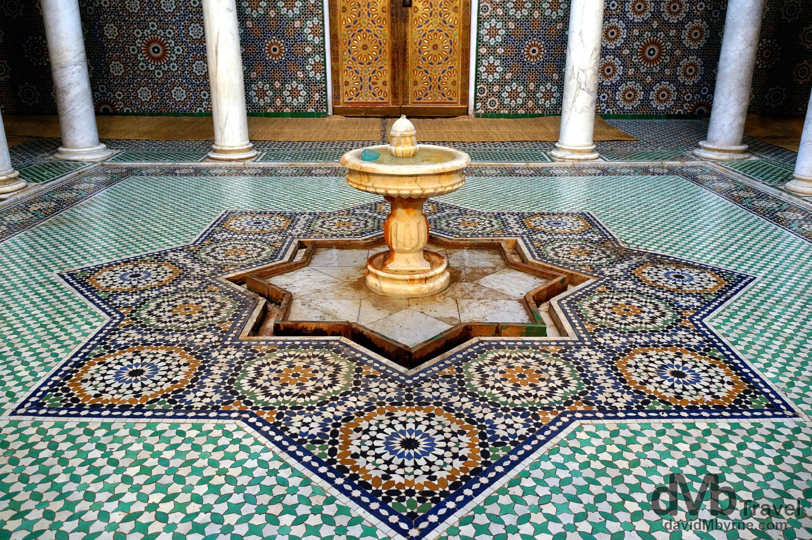 Zellij tile work in the tomb hall of the Moulay Ismail Mausoleum in Meknes, Morocco. May 24th, 2014.