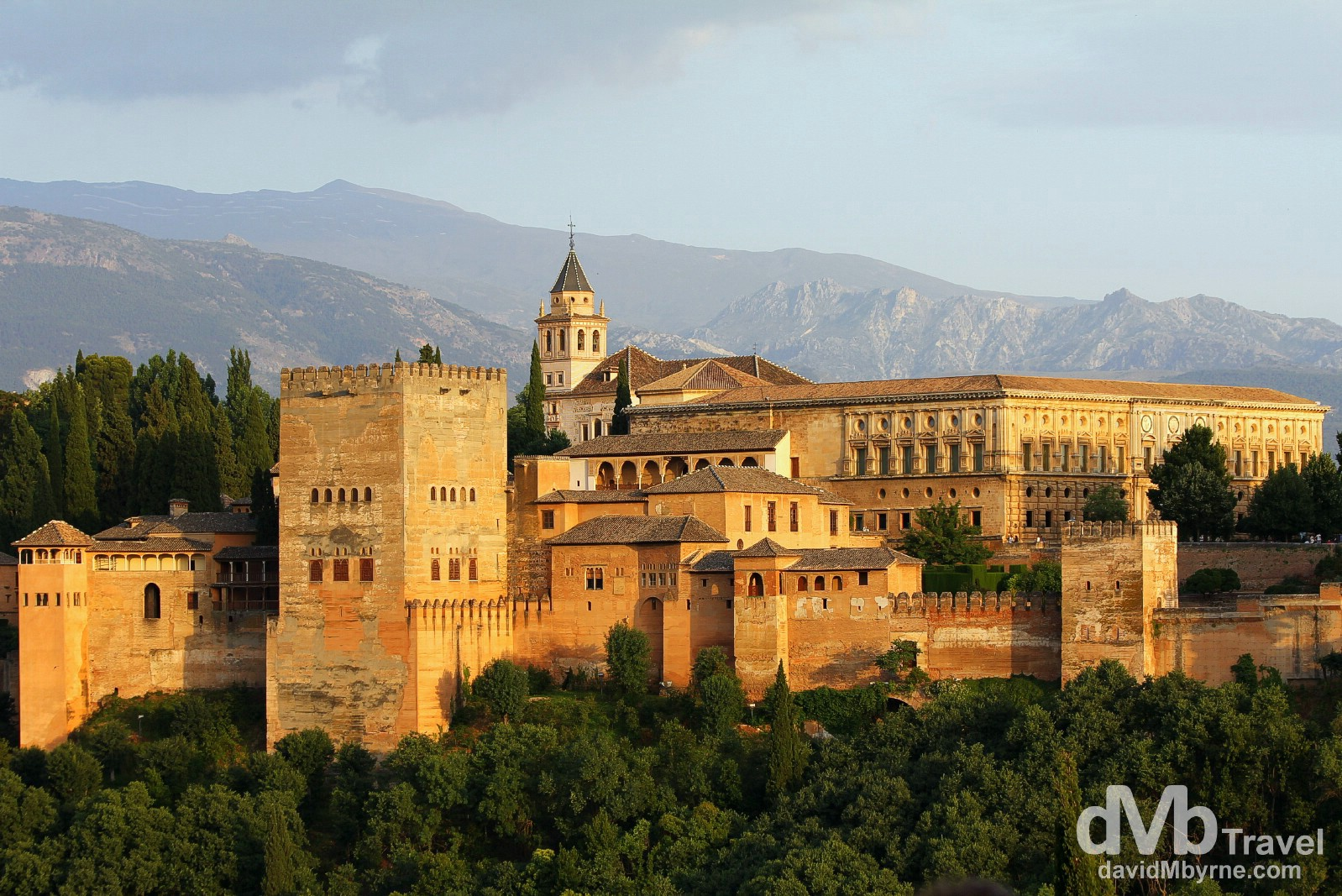 The Alhambra as seen from Mirador (gazebo) San Nicolas in Granada, Andalusia, Spain. June 11th, 2014.