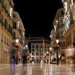 Calle Marques de Larios, the city main pedestrianized artery in Malaga, Andalusia, Spain. June 9th, 2014.