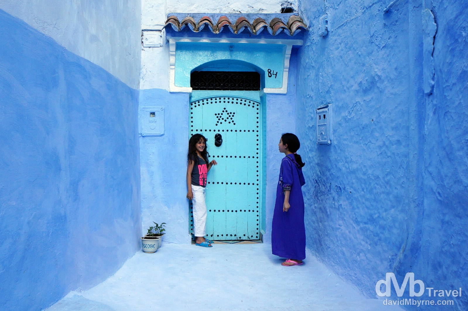 Girls in the lanes of the medina in Chefchaouen, Morocco. May 30th, 2014.