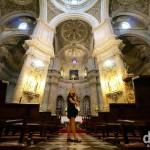 Viewing the inside of the 16th century Iglesia del Sagrario, Granada, Andalusia, Spain. June 10th, 2014.
