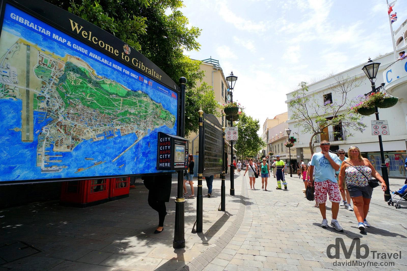 The start of Main Street in Gibraltar. June 5th, 2014.