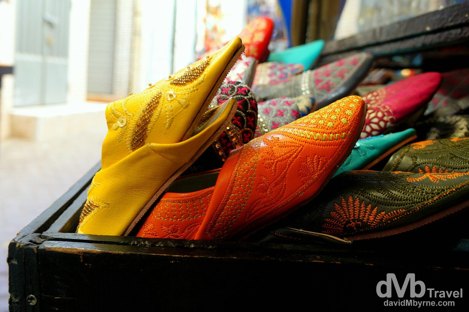 Babouche, Moroccan slippers, on sale in a lane of the Medina in Tangier, Morocco. June 3rd, 2014.
