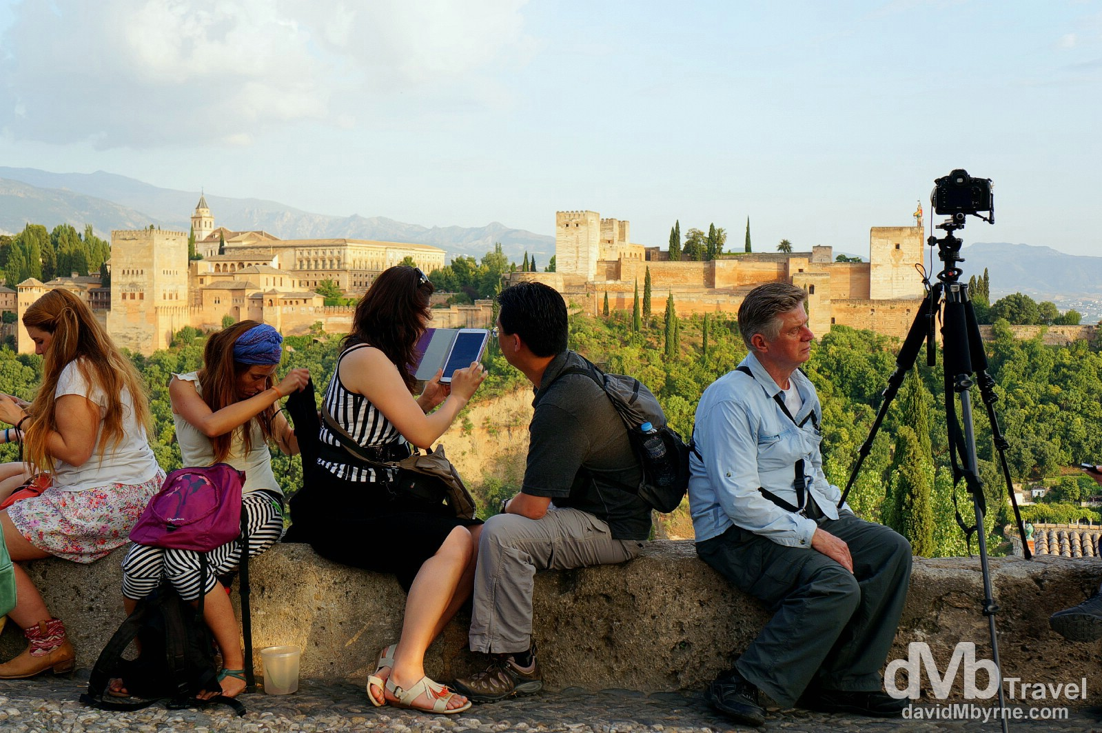 Viewing the Alhambra at sunset from the Mirador (Gazebo) San Nicolas in Granada, Andalusia, Spain. June 11th 2014.