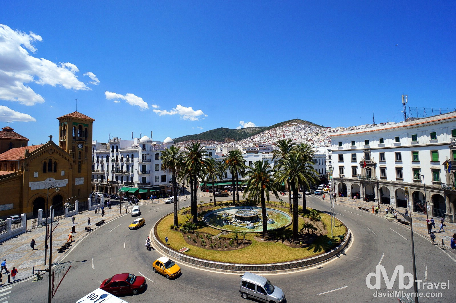 The view from room 11 in the Pension Iberia overlooking the Ville Nouvelle's Place Moulay El Mehdi in Tetouan, northern Morocco. June 2nd, 2014.