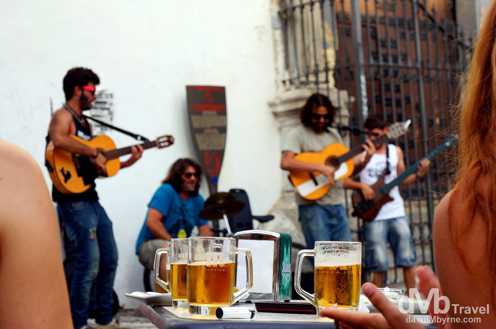 Enjoying a beer (& the buskers) in Placeta de San Gregorio in Granada, Andalucia, Spain. June 11th, 2014.