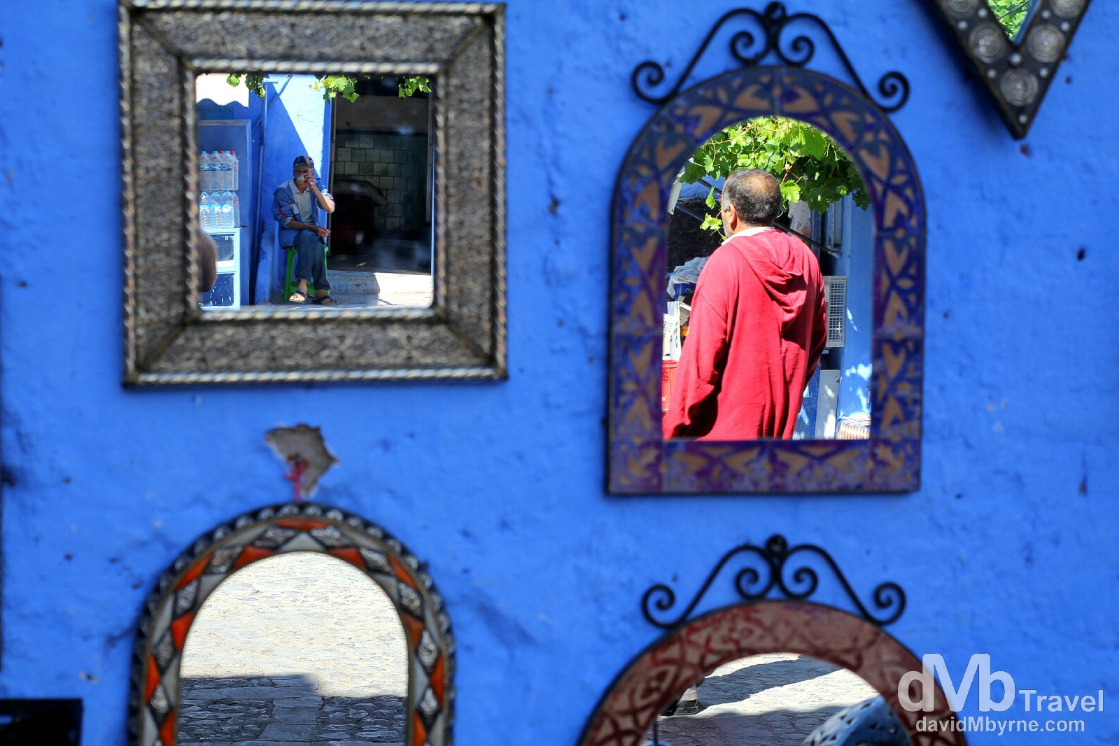 Reflections in mirrors for sale in the lanes of the medina in Chefchaouen, Morocco. June 1st, 2014.