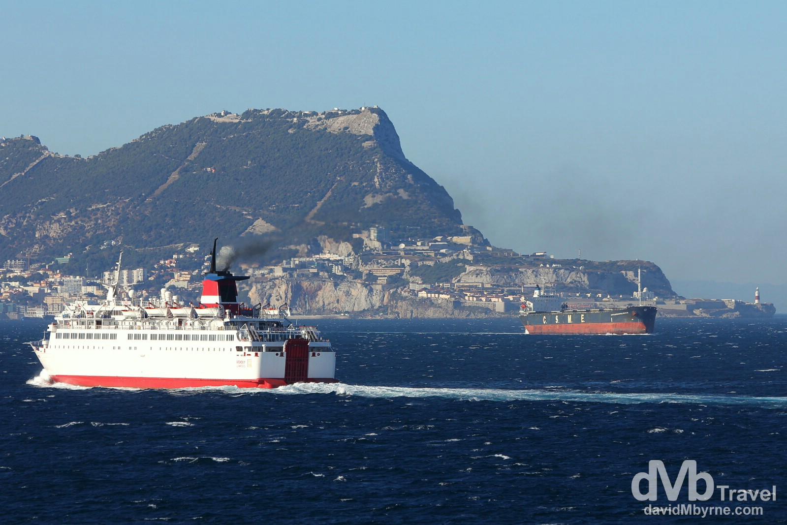 Shipping & The Rock of Gibraltar en route across the Strait of Gibraltar from Tangier Med, Morocco, to Algeciras, southern Spain. June 4th, 2014.