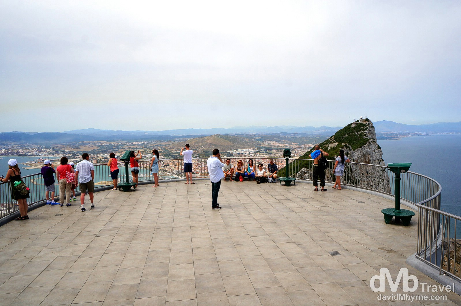 People on The Top of the Rock viewing deck in The Upper Rock Nature Reserve, Gibraltar. June 5th, 2014.
