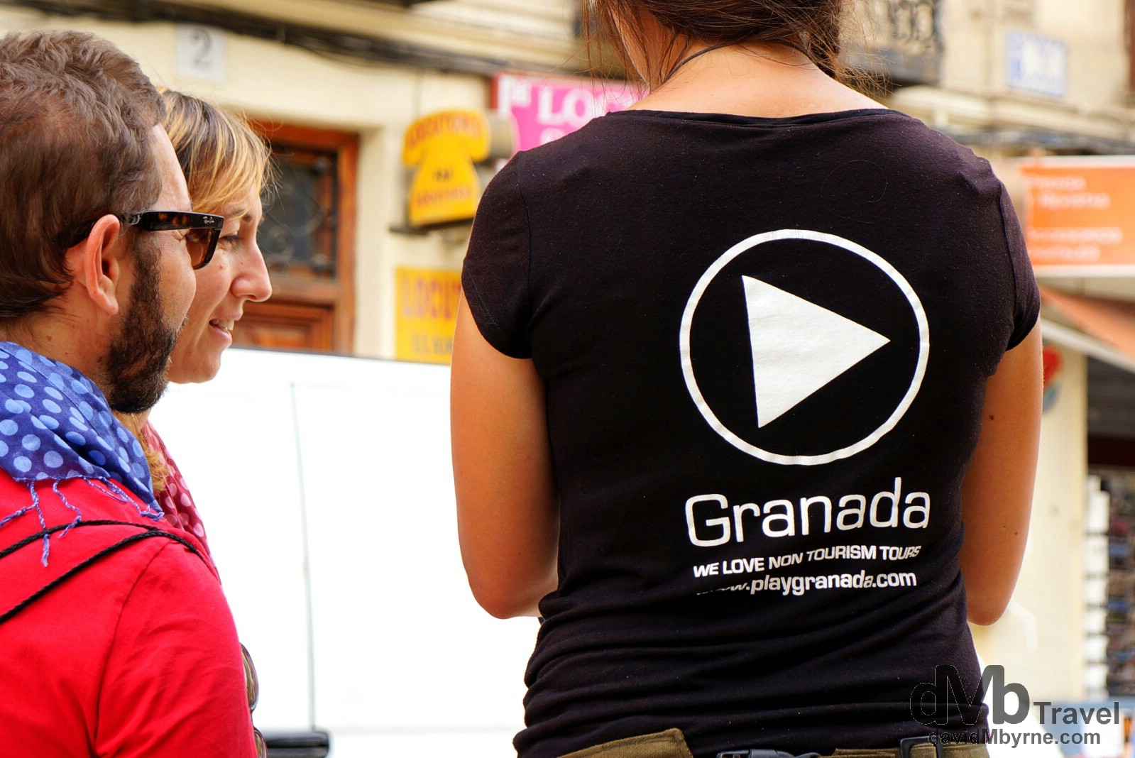 Tourist help in Plaza Nueva, Granada, Andalusia, Spain. June 10th, 2014.