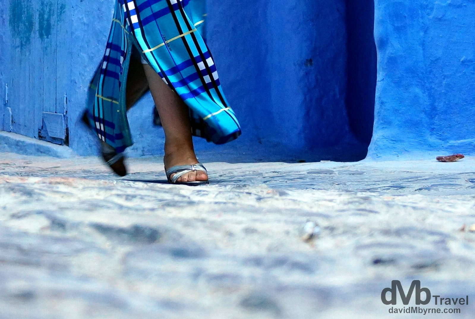 Walking in the blue lanes of the medina in Chefchaouen, Morocco. May 30th, 2014.