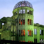 The A-bomb Dome by the he Aioi River, the most famous landmark in Hiroshima, Honshu, Japan. July 22nd, 2005.