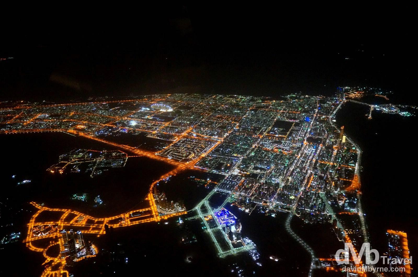 Abu Dhabi, UAE, as seen from Rotana Jet flight RG125 en route to Muscat, Oman. April 24th, 2014.