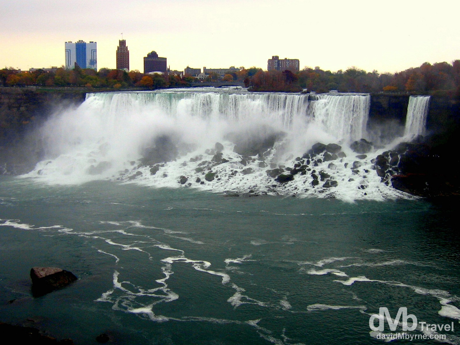 The American Falls, aka The Bridal Veil Falls, of the larger Niagara Falls as seen from Niagara Falls, Ontario, Canada. November 5th 2005.