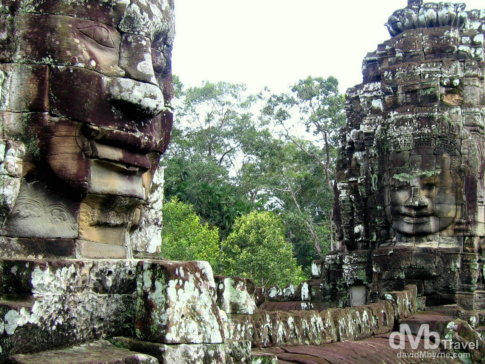 The faces of the temple Bayon in Angkor Thom, Angkor, Cambodia. September 20th, 2005.