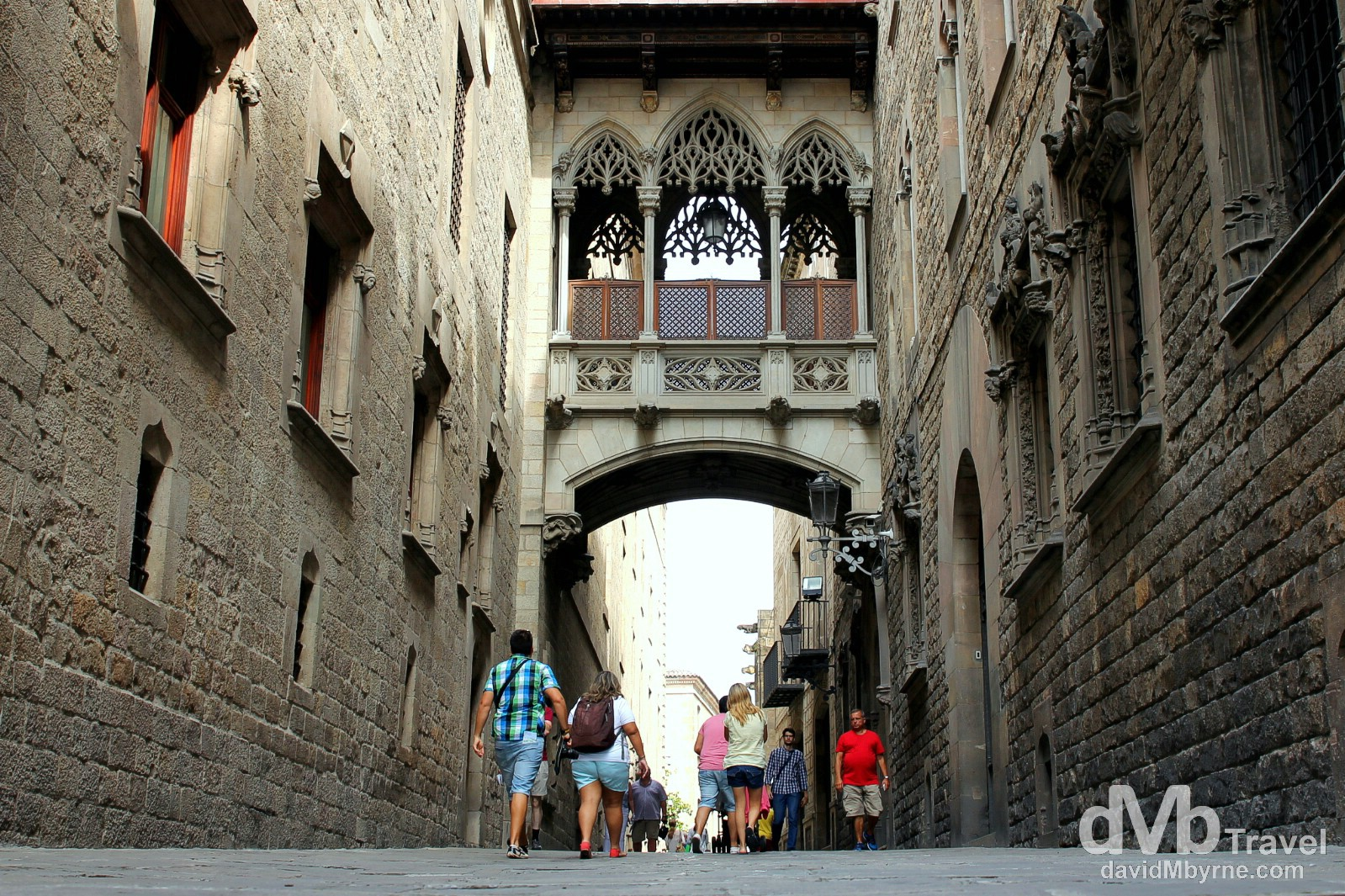 Architectural detail on Calle del Bisbe Irurita in Barri Gotic, Barcelona, Spain. June 17th, 2014.