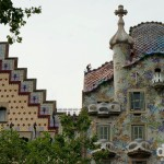 Gaudi's Casa Batilo (right) & Casa Amatller (left) on Passeig de Gracia, Barcelona, Catalonia, Spain. June 17th, 2014.