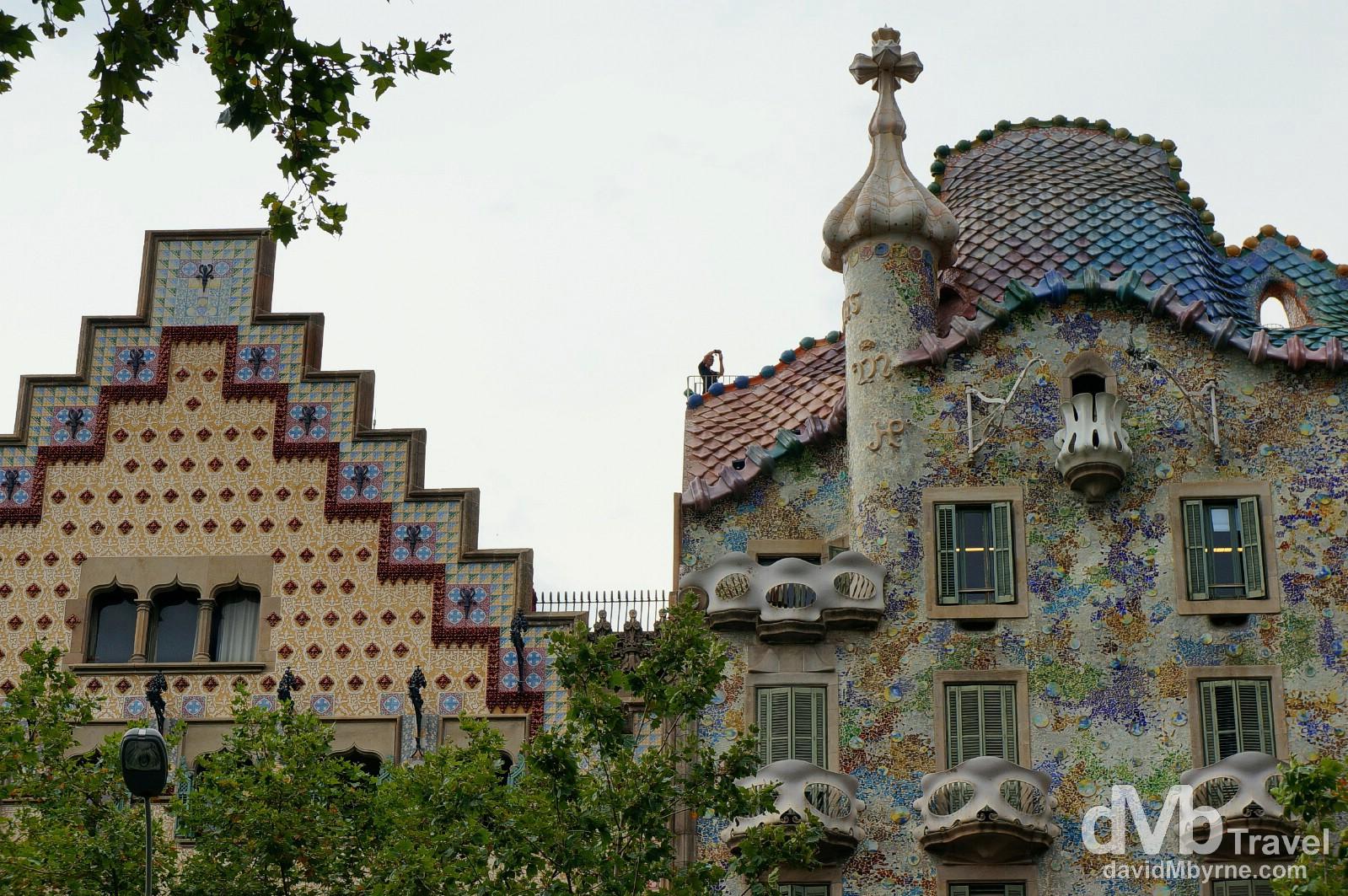 Gaudi's Casa Batilo (right) & Casa Amatller on Passeig de Gracia, Barcelona, Spain. June 17th, 2014.