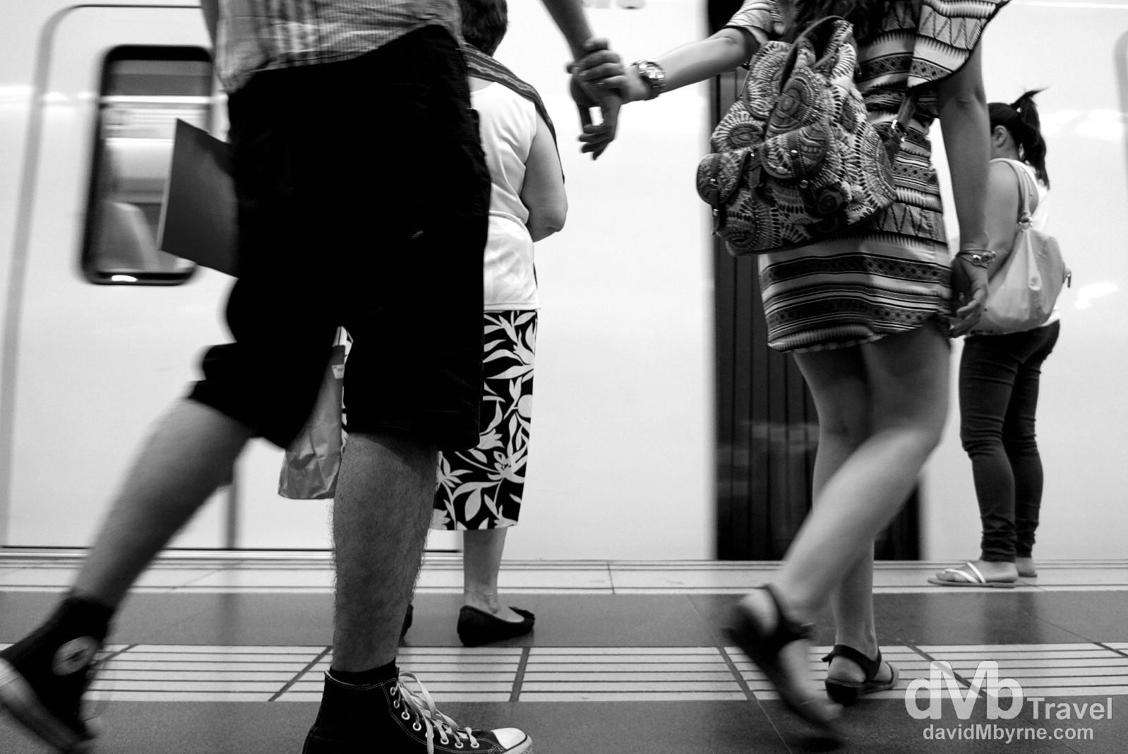 On the platform of Diagonal Metro Station in Barcelona, Catalonia, Spain. June 18th, 2014.