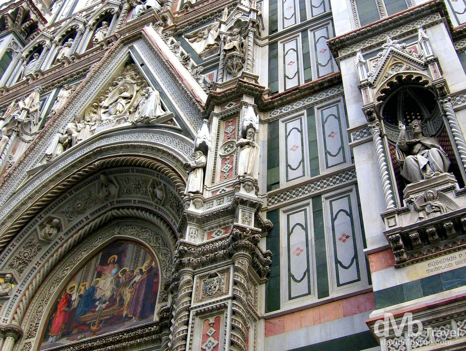 A section of the facade of the Dumo in Plazza del Dumo, Florence, Tuscany, Italy. August 29th, 2007.
