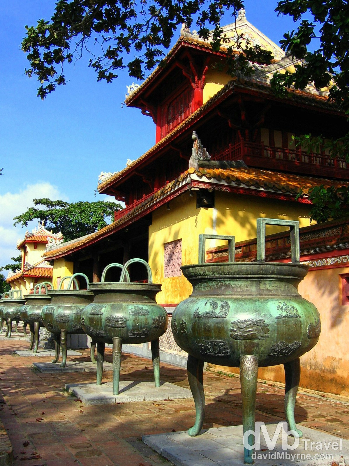 Some of the 9 Dynastic Urns of the UNESCO-listed Citadel in Hue, Central Vietnam. September 7th, 2005.