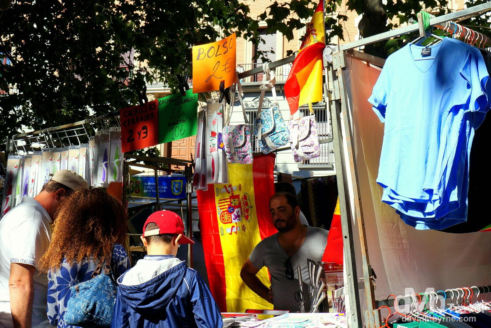 El Rastro flea market on Ribera de Curtidores, Madrid, Spain. June 15th, 2014.
