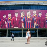 Fronting Europe's largest sports stadium, Estadi Camp Nou in Barcelona, Catalonia, Spain. June 18th, 2014.