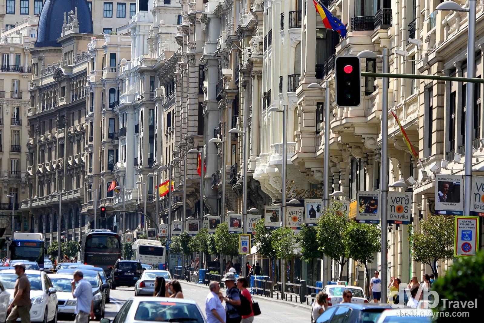 Buildings lining Gran Via in Madrid, Spain. June 14th, 2014.