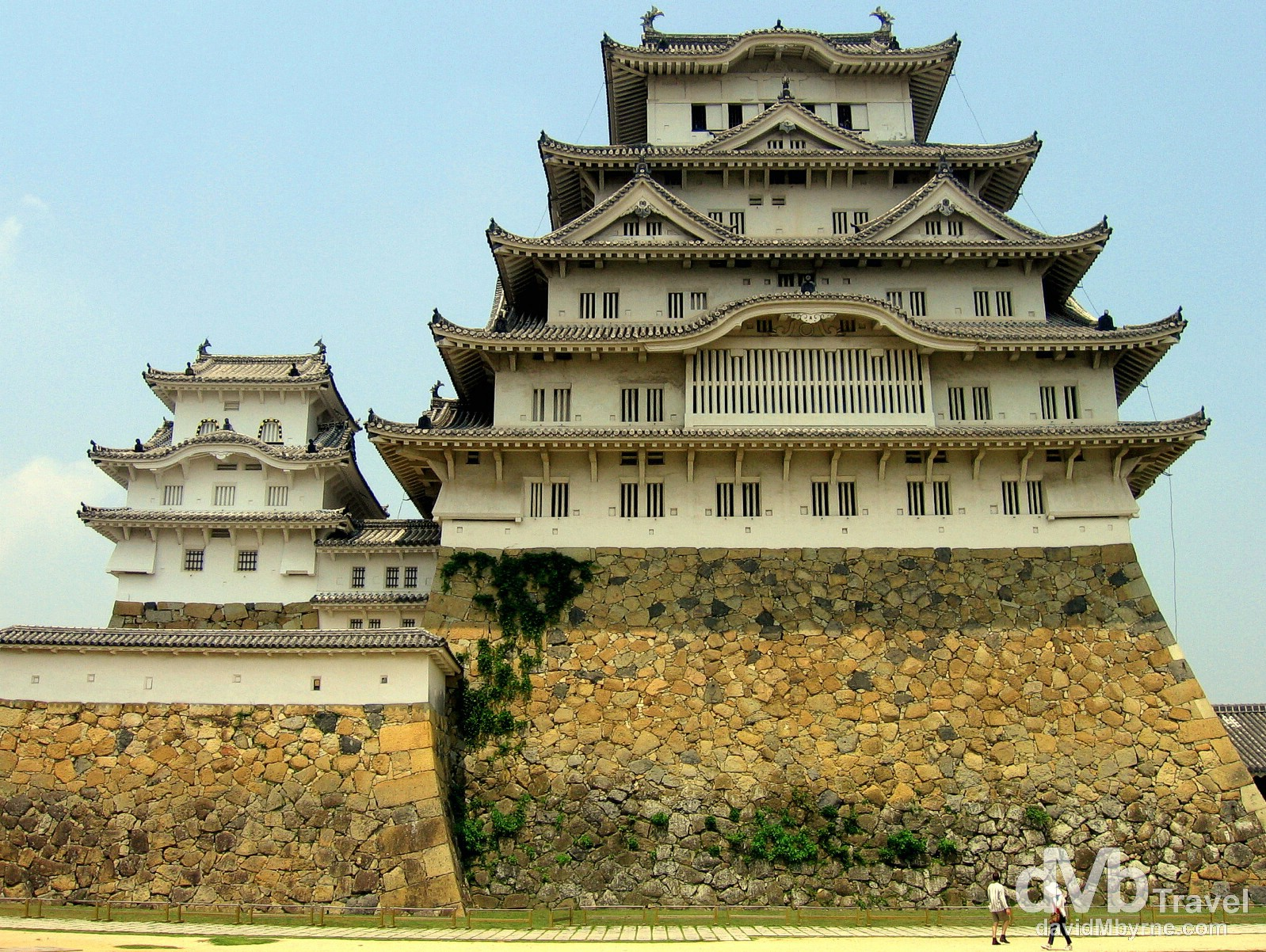 Fronting the massive UNESCO-listed Himeji Castle in Himeji, Honshu, Japan. July 21st, 2005.