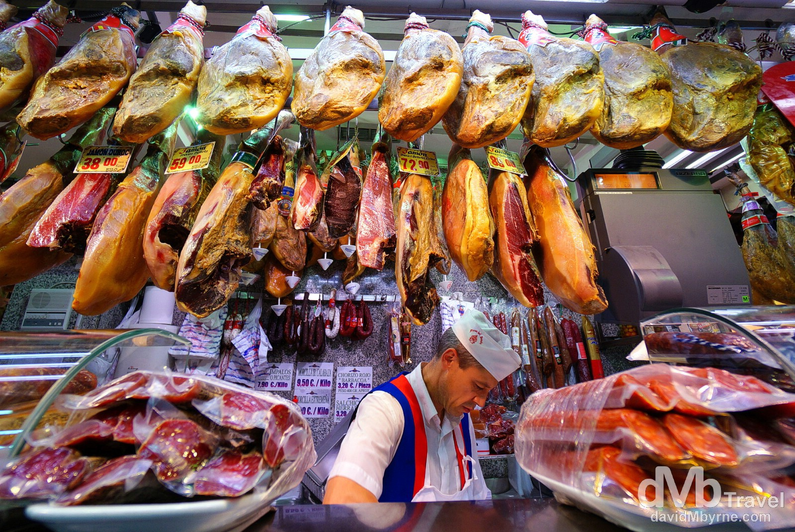 One of the many jamon (ham) shops in Madrid, Spain. June 14th, 2014.