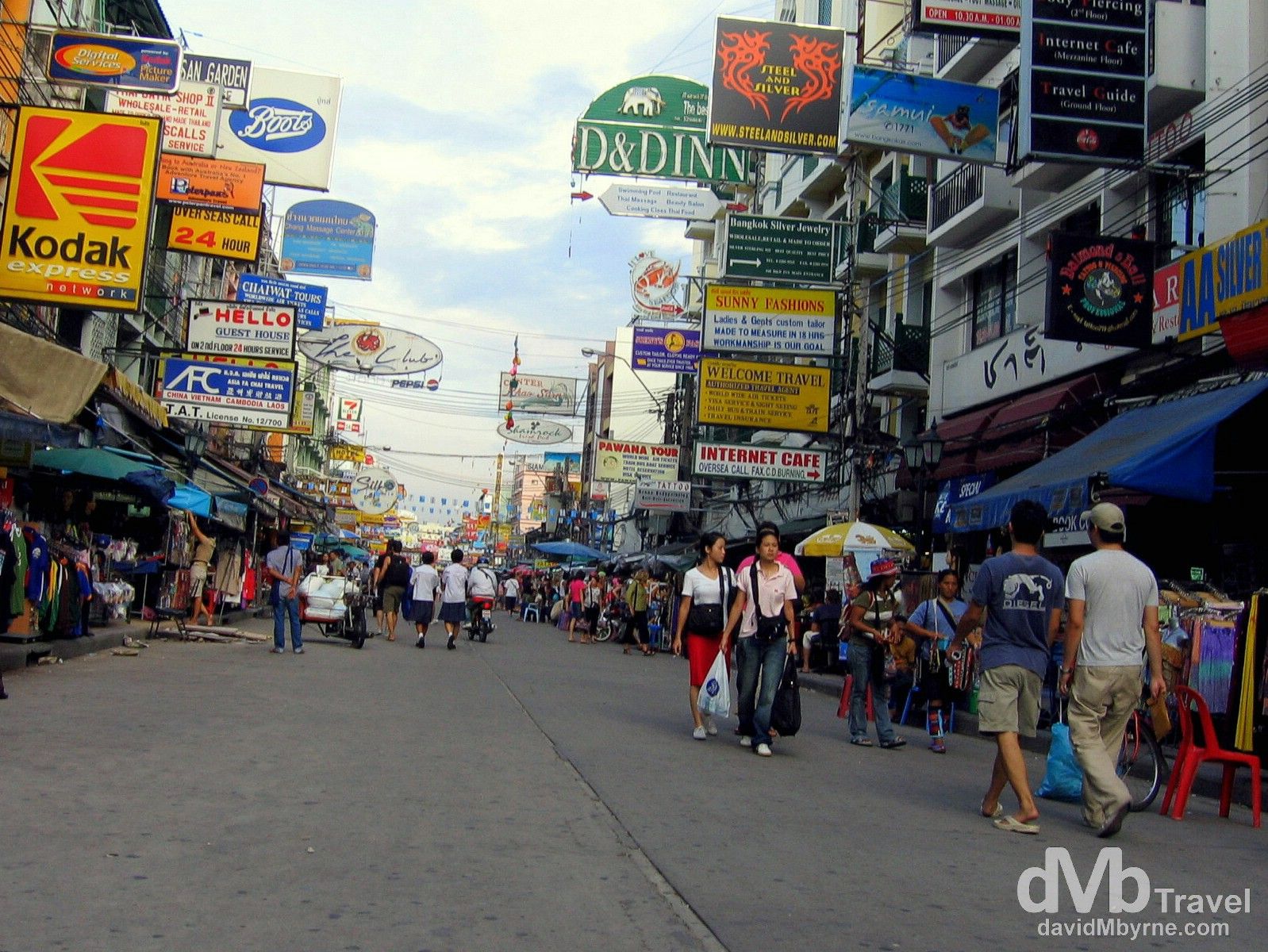 The backpacker hangout of the Khao San Road in Bangkok, Thailand. September 22nd, 2005.
