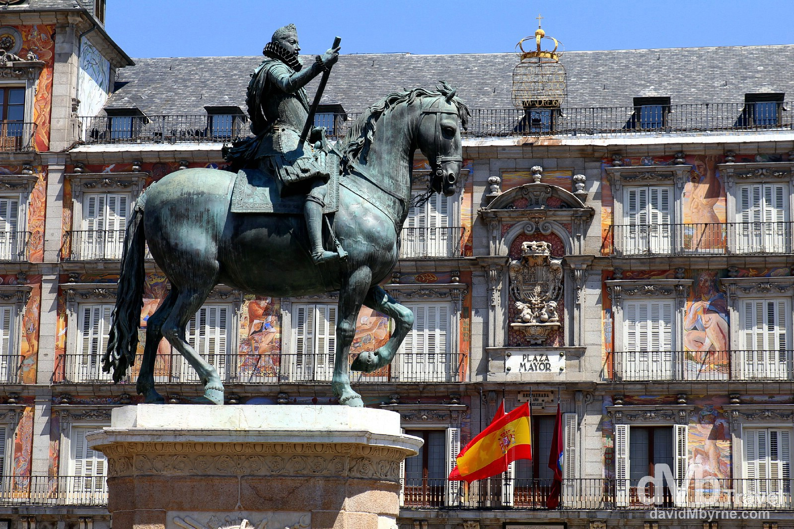 A statue of King Philip III in Plaza Mayor, Madrid, Spain. June 14th, 2014.