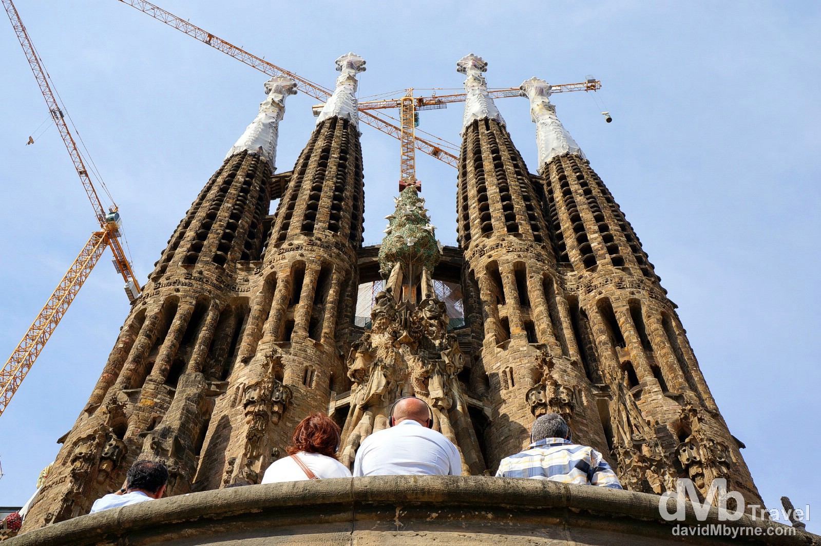 Admiring the Nativity facade & towers of the eastern side of the Sagrada Familia in Barcelona Spain. June 18th, 2014.