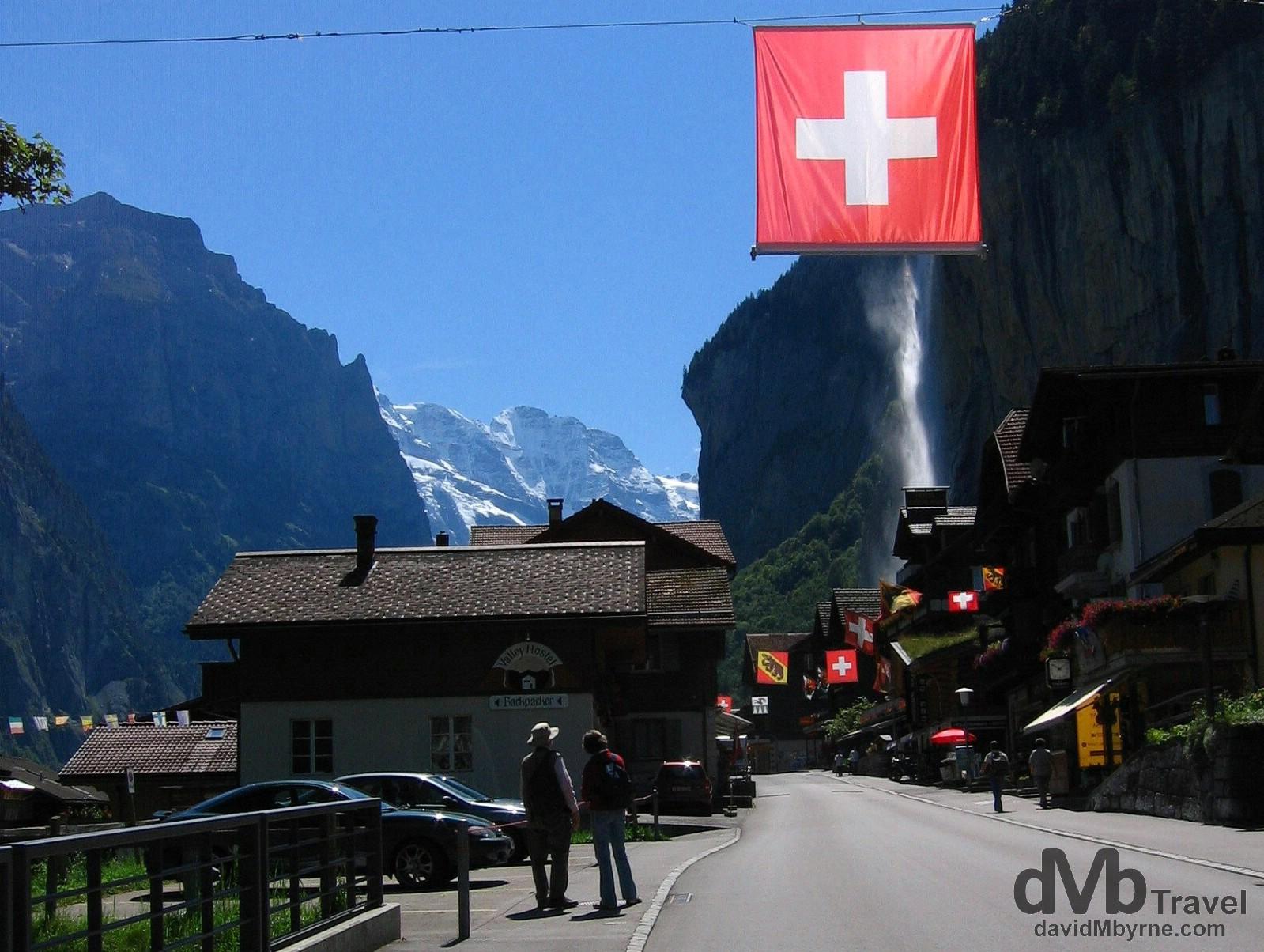 Entering the village of Lauterbrunnen, Jungfrau region, Switzerland. August 24th, 2007.