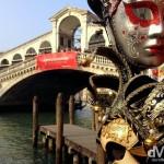 Decorative carnival masks by the Rialto Bridge in Venice, Veneto, Italy. March 19th, 2014.