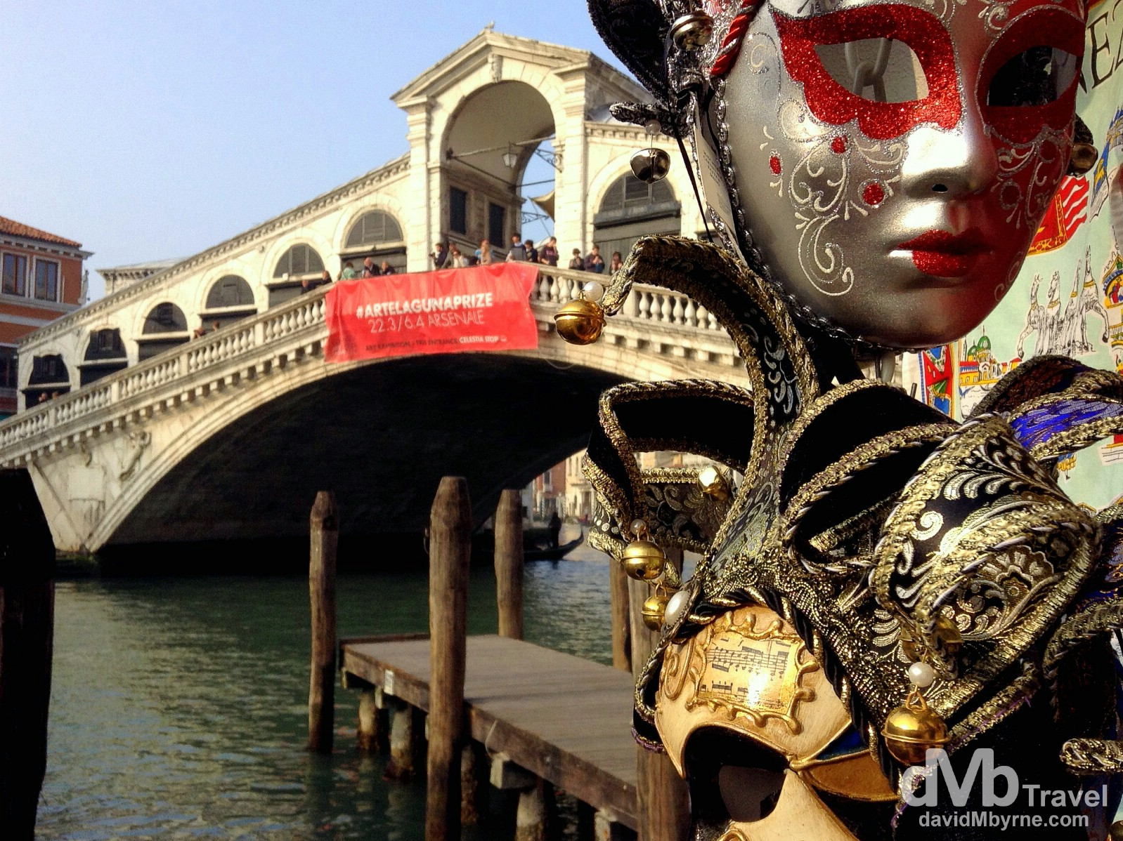 Decorative carnival masks by the Rialto Bridge in Venice, Veneto, Italy. March 19th, 2014.