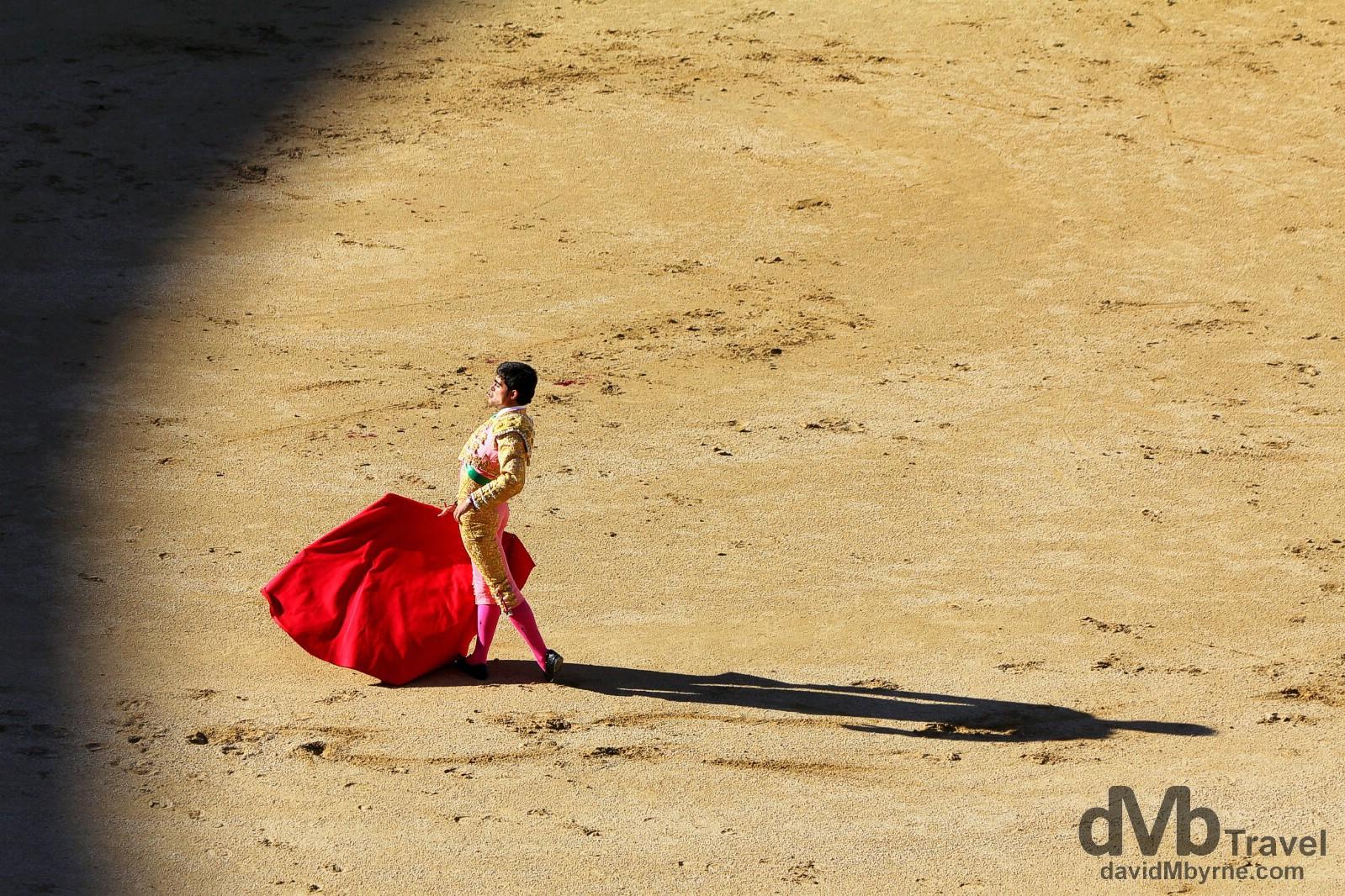 A Matador in action in Plaza de Toros, Las Ventas, Madrid, Spain. June 15th, 2014.