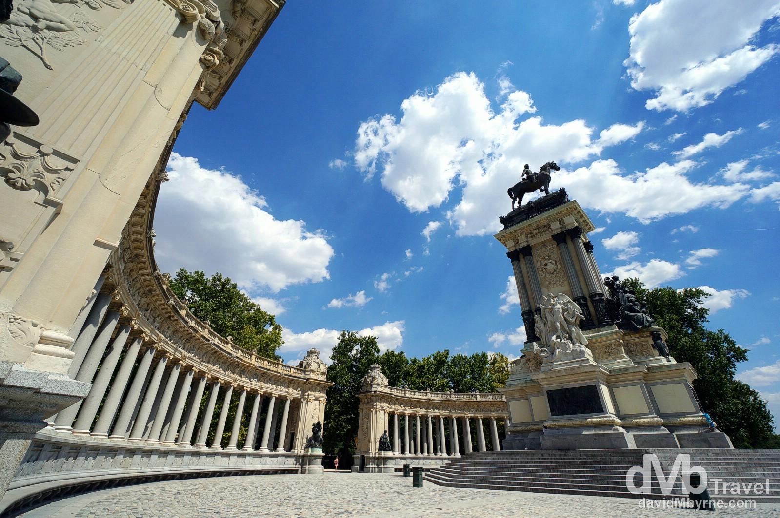 The Monumento Alfonso XII in Parque del Ritiro, Madrid, Spain. June 14th, 2014.