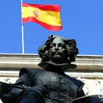A statue fronting the Museo Nacional del Prado in Madrid, Spain. June 14th, 2014.