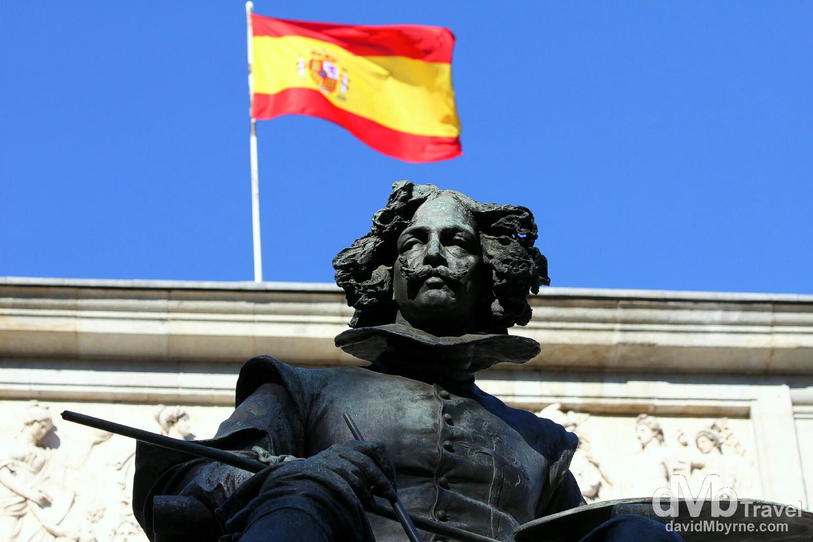 A statue fronting the Museo Nacional del Prado in Madrid, Spain. June 14th, 2014.