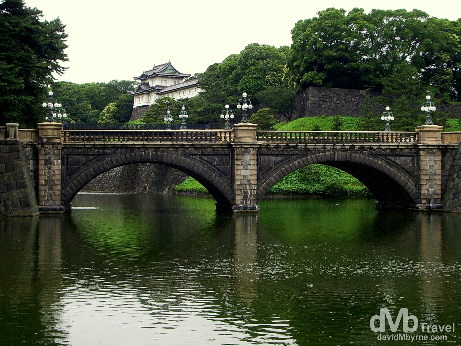 Nijubashi Bridge of the Imperial Palace on an overcast day in Tokyo, Japan. July 13th, 2005.