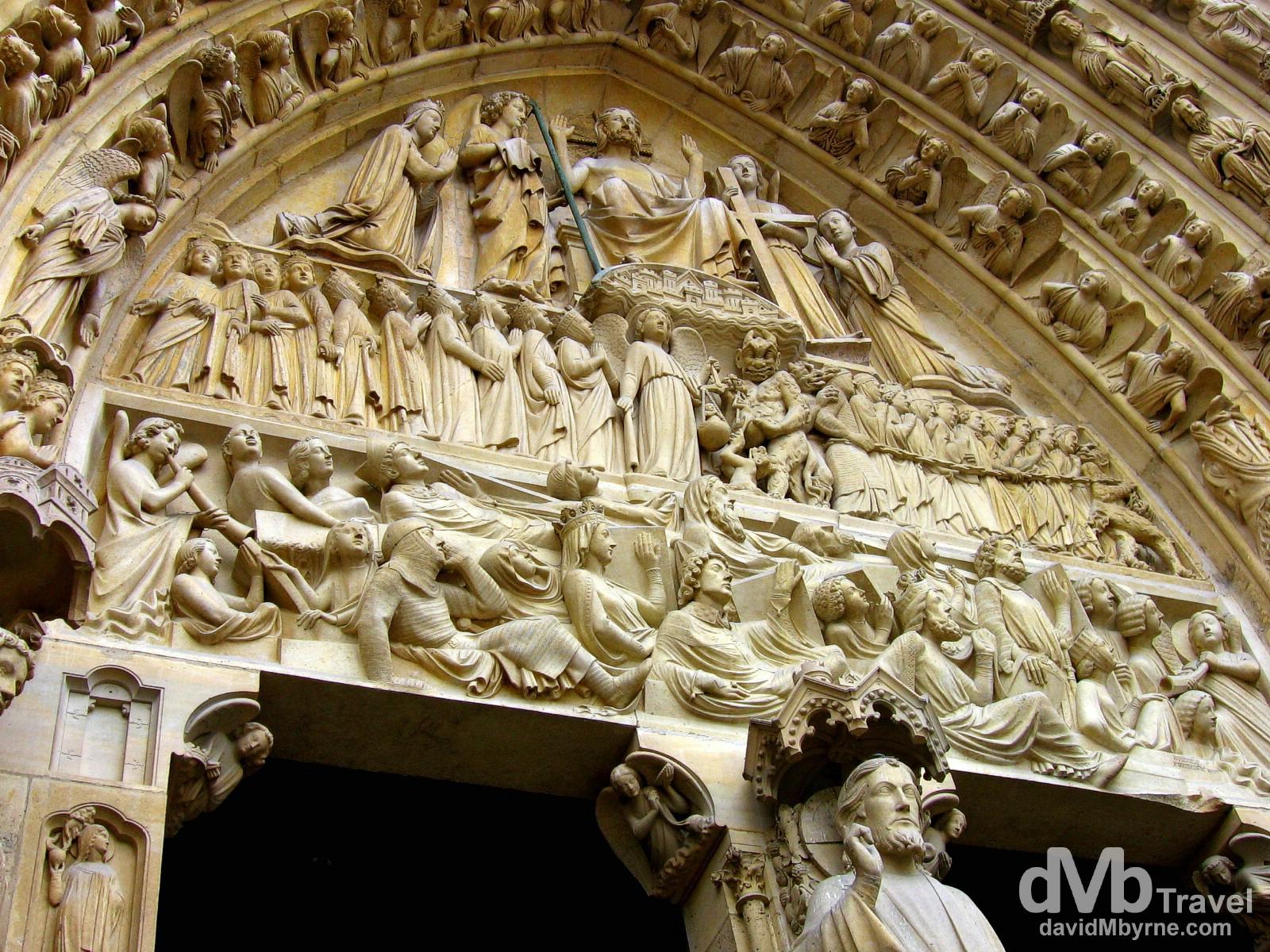 Detail of the extraordinary facade of Notre Dame Cathedral, Île de la Cité, Paris, France. August 18th, 2007.