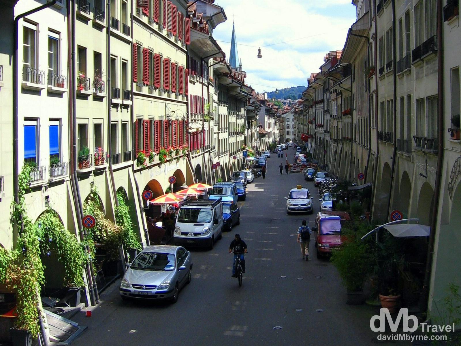 A street in Old Town Bern, Switzerland. August 23rd, 2007.