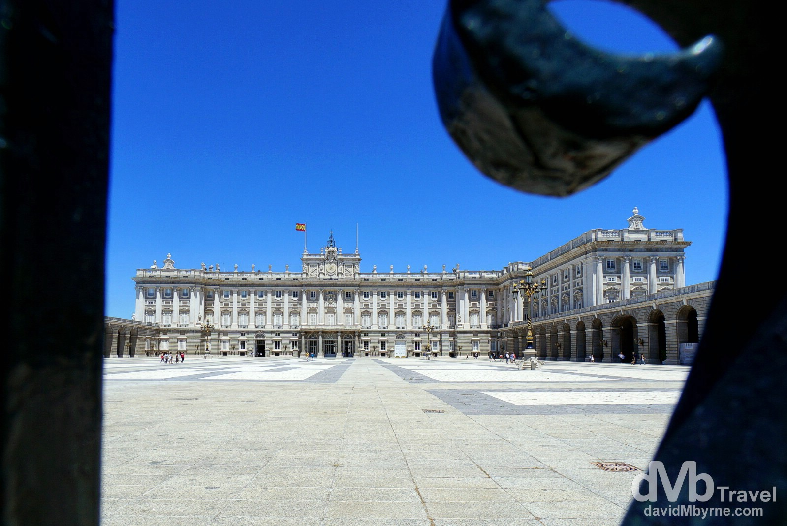 A section of the Palacio Real (the Royal Palace) as seen through railings in Madrid, Spain. June 15th, 2014.