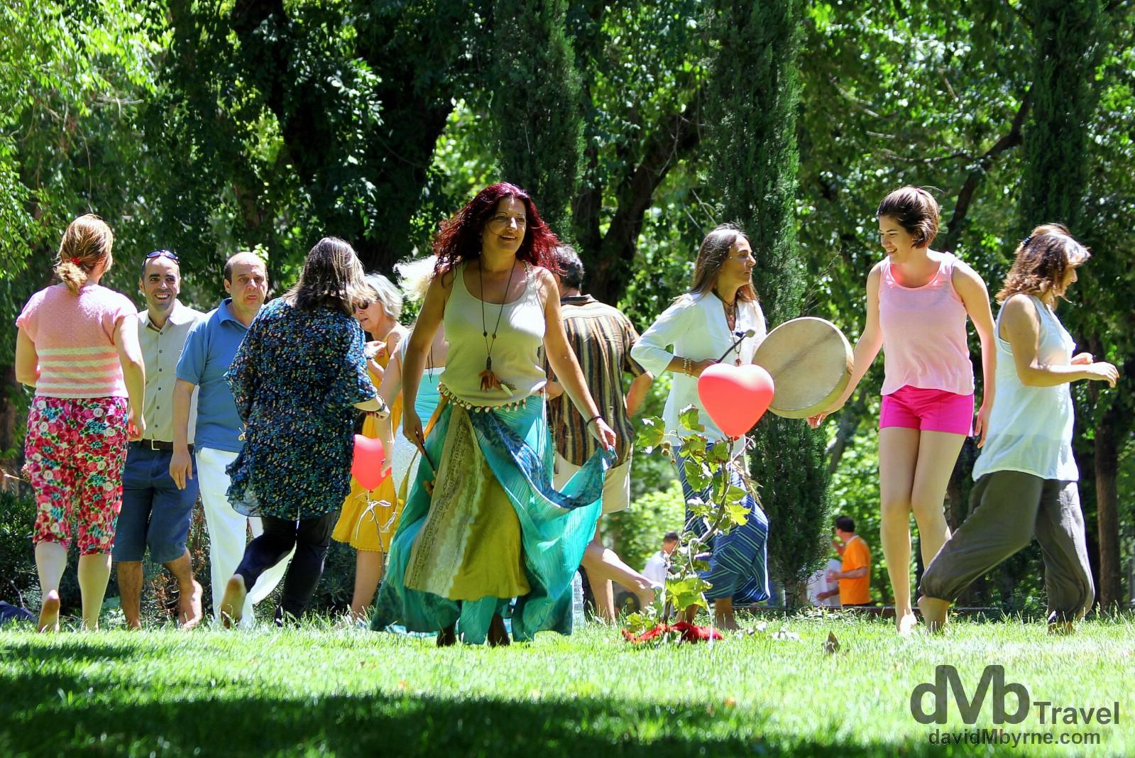 On a happy buzz in Parque de la Montana, Madrid, Spain. June 15th, 2014.