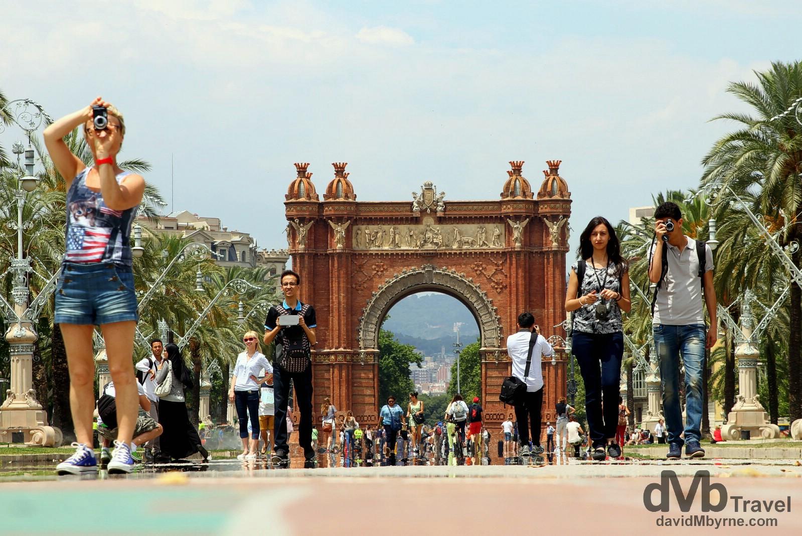 Looking down on Passeig de Lluis Companys towards the Arc de Triomf in Barcelona, Spain. June 17th, 2014.