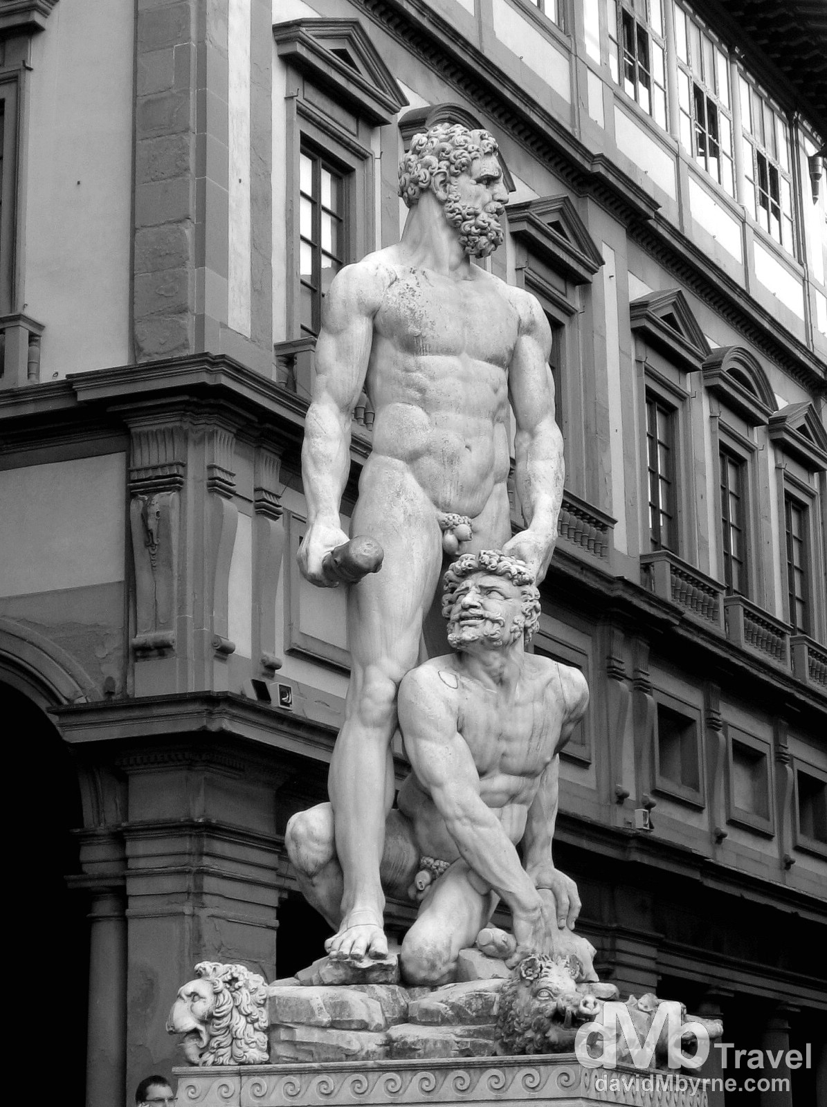 A statue fronting the Uffizi Gallery in Piazza della Signoria, Florence, Tuscany, Italy. August 28th, 2007.